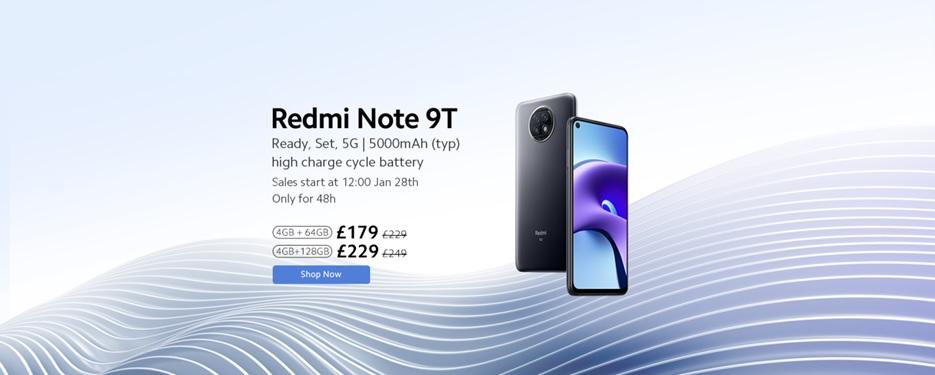 Xiaomi announces Redmi Note 9T for UK, bringing premium innovation and 5G speeds